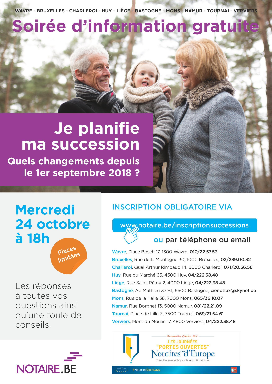 """Rendez-vous à notre soirée d'information gratuite """"Je planifie ma succession"""" le 24 octobre 2018"""