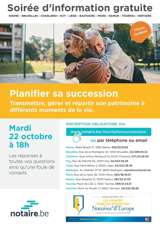 """Rendez-vous à notre soirée d'information gratuite """"Planifier sa succession"""" le 22 octobre 2019"""